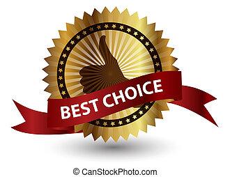 最も良く, ベクトル, ribbon., 赤, ラベル, 選択