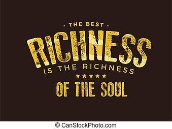 最も良く, 豊かさ