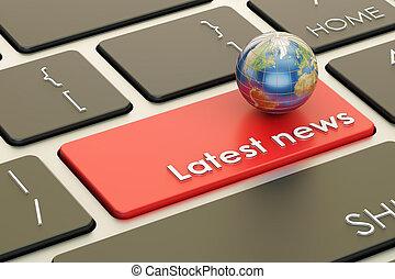 最も遅く, ニュース, ボタン, 赤, キー, 上に, keyboard., 3d, レンダリング
