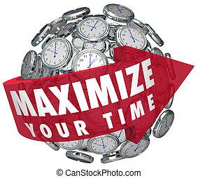最大化, 你, 時間, 箭, 詞, 鐘, 球, 做, 片刻, 持續