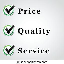 最好, 價格, 質量, 以及, 服務, 插圖