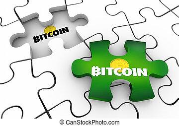 最後, お金, 困惑, blockchain, bitcoin, イラスト, cryptocurrency, デジタル, 小片, 3d
