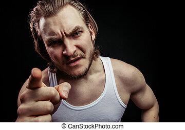 最後, 脅すこと, 筋肉, 激怒している, warning., 人