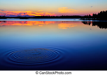 最後, splasht., 湖, karelia, engozero, 北, ロシア