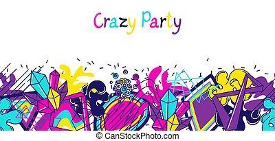 最新流行である, カラフルである, 旗, 狂気, パーティー。, 抽象的, 現代, 色, 要素, 中に, 落書き,...