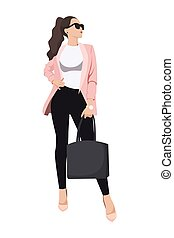 最新流行である, ファッション, 女性, 流行, 服を着せられる, -, 女性, イラスト, 衣服