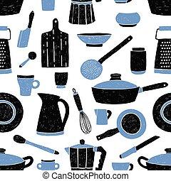 最新流行である, 道具, 青, スタイル, 生地, 皿, パターン, seamless, 道具, バックグラウンド。, 黒, テーブルウェア, 白, 背景。, 包むこと, イラスト, 印刷, 台所, 壁紙, ペーパー, に対して, ベクトル