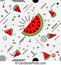 最新流行である, seamless, ベクトル, メンフィス, パターン, スイカ, スタイル, 幾何学的
