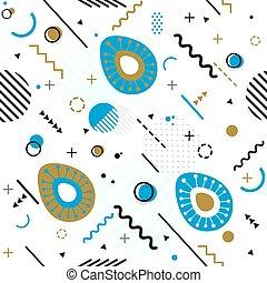 最新流行である, seamless, ベクトル, メンフィス, パターン, スタイル, 幾何学的, イースター