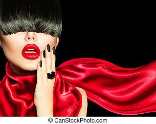 最時髦服裝, 女孩, 由于, 時髦, 發型, 构成, 以及, 修指甲