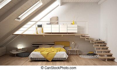 最簡單派藝術家, 閣樓, 第一流, mezzanine, 黃色, 斯堪的納維亞人, 寢室, 內部設計, 白色