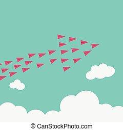最簡單派藝術家, stile, 紅色, 飛機, 飛行, high.vision, 為, 成長, 以及, 新的想法, 變化, 趨勢, 勇氣, 創造性, 解決, 革新, 以及, 唯一, 方式, concept.