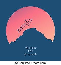 最簡單派藝術家, stile, 飛機, 飛行, high.vision, 為, 成長, 以及, 新的想法, 變化, 趨勢, 勇氣, 創造性, 解決, 革新, 以及, 唯一, 方式, concept.