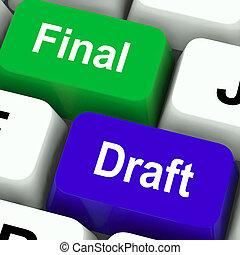 最終的, 草案, キー, ショー, 編集, そして, rewriting, 文書