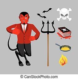 最高, 特徴, boss., necronomicon, lucifer, bats., 宗教, 王子, 赤い悪魔, 暗闇, set., sinners., underworld., accessories., 本, 黒, dead., パン, satanic, trident, 揚がること, 精神, マジック, demon., hellfire., evil., mythological