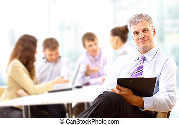 會議, 他的, 事務, 休息, 參加, 隊人像, 高階人