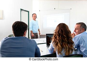 會議, 參加, 組, 商業界人士