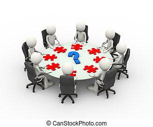 會議, 商業界人士, 桌子, 會議, 3d