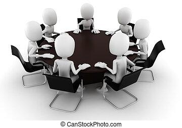 會議, 白色, 人, 被隔离,  3D