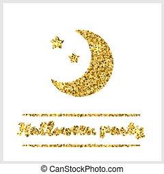 月亮, 万圣节前夜, textured, 金子, 图标