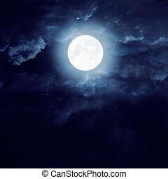 月亮, 上, a, 黑的天空