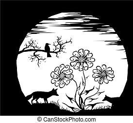 月亮, 以及, 黑色半面畫像