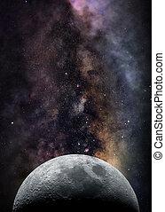 月亮, 在, 空間