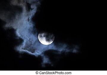 月亮, 夜晚, 云霧