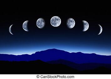 月亮, 月亮的週期, 在, 夜晚天空