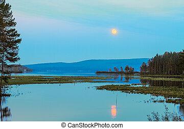 月亮, 湖, 反映