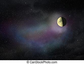 月亮, 發光, 在暗處, 夜晚天空