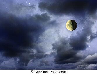 月亮, 發光, 在暗處, 混濁的天空