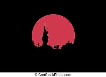 月亮, 紅的背景, 夜晚, 城堡, 風景