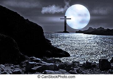 月光, 海景, 由于, a