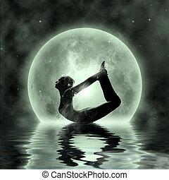 月光, -, 瞑想, マジック, ヨガ