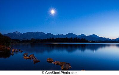 月光, hopfen, 湖