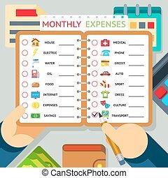 月刊, 花費, 費用, 以及, 收入, 矢量, infographics, 樣板
