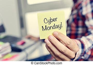 月曜日, テキスト, 若い, cyber, 付せん, 人
