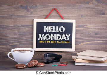 月曜日, 木製である, concept., 黒板, 背景, こんにちは