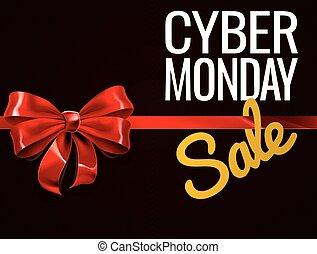 月曜日, 贈り物, セール, cyber, 弓, 印, 赤