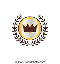 月桂樹の冠, 王冠, アイコン, ラベル