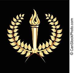 月桂樹, トーチ, 炎, 金, ロゴ