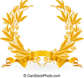 月桂樹, ベクトル, 花輪, 金