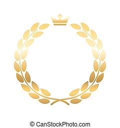 月桂樹, 王冠, 花輪, 紋章, 金