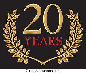 月桂樹, 金, 花輪, 20年