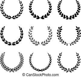 月桂樹, wreaths., セット, 黒, 2.