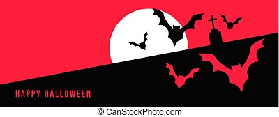 月, コウモリ, 幸せ, フルである, ハロウィーン, 飛行, 旗