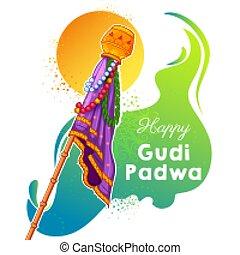 月, 新年, padwa, 祝福, gudi, maharashtra, インド