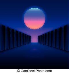 月, 暗い, 風景, レトロ, 廊下, デジタル, 未来派