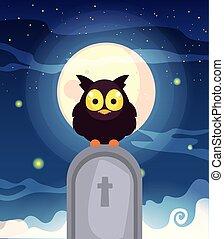 月, 現場, フクロウ, 納屋, 墓地